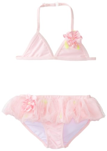 Mack 2 Kate Swimsuit Piece - Kate Mack Little Girls'  Secret Garden Skirted Bikini, Pink, 6