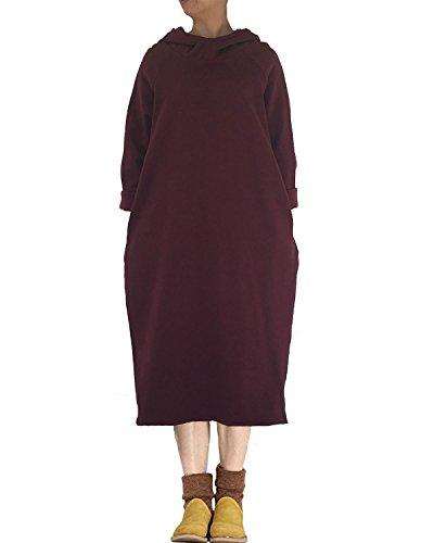 with Side Pockets Style1 Red Dress purple Long Turtleneck Sweatshirt Women's hood Sleeve Aeneontrue gnxq8PY0z