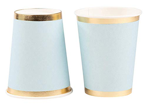 Blue Paper Cups - 50-Pack 9oz Disposable Drinking Cups, Light Blue with Gold Foil Rim, Baby Shower, Birthday Decorations, Bridal Shower Party Supplies, 9 Ounce Capacity