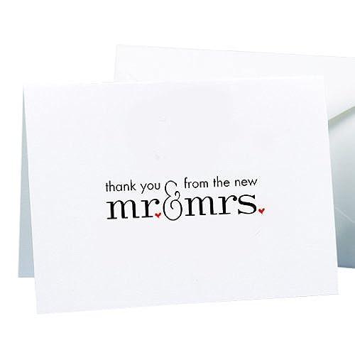 Thank you cards wedding amazon hortense b hewitt wedding accessories mr and mrs thank you cards 50 count junglespirit Images