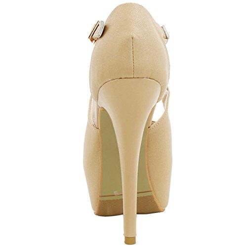 Toe Heels K Beige Platform Peep Allegra Stiletto Women xO676tB