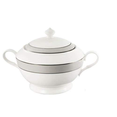 (Lorren Home Trends La Luna Collection Bone China Souptureen with Lid, Donatella Pattern)