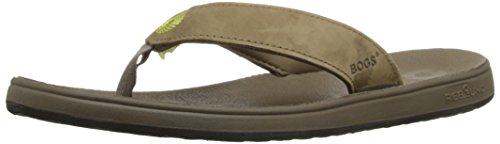 Bogs Women's Hudson Leather Flip Flop, Cocoa, 8 M US