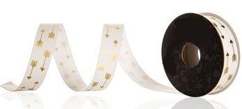 Double Arrow Ribbon White & Gold Foil Grosgrain Ribbon - 4 Yards