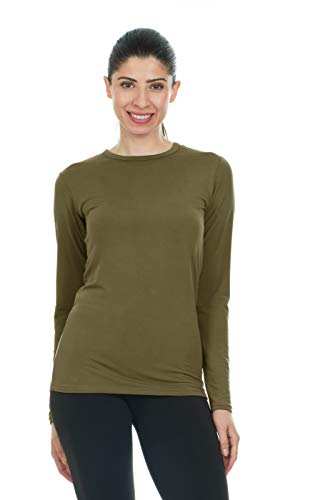 Thermajane Women's Ultra Soft Thermal Shirt - Compression Baselayer Crew Neck Top - Fleece Lined Long Sleeve Underwear T Shirt (Olive Green, - Tee Sleeve Layered Ladies Long