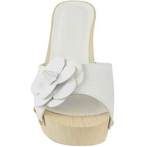 Moda Donna Sete Zoccoli Sandali Tacco Medio Sandali Slip On Effetto Legno Estate Vacanza Dimensione Bianco Ecopelle
