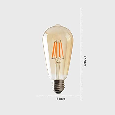 4 W dimmbar 480 lm Warmwei/ß 2300 K E27 Edison-Gl/ühbirne QYWSJ Vintage Edison-Gl/ühbirne 40 W 6er-Pack ST64 360 /° Strahl