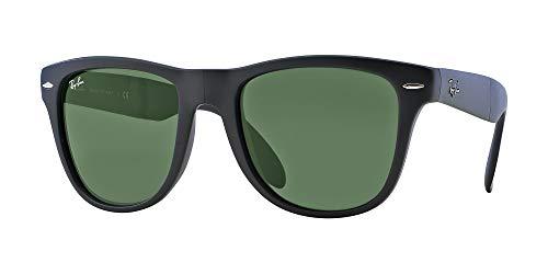 - Ray-Ban RB4105 Folding Wayfarer Unisex Sunglasses (Matte Black Frame/Crystal Green Lens 601S, 50)