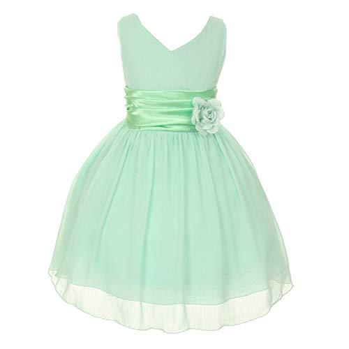 Kiki Kids Little Girls Mint Yoru Chiffon Double V-Neck Flower Girl Easter Dress 4 from KiKi Kids USA
