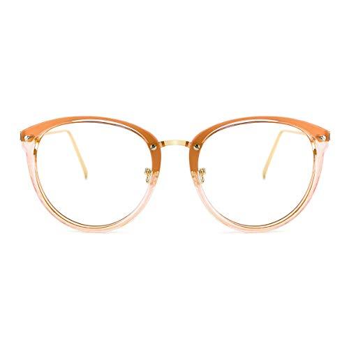 TIJN Blue Light Block Glasses|Round Optical Eyewear Non-prescription Eyeglasses Frame for Women (clear tawny(improved blue light blocking lens)) (Prescription Glass Frames)