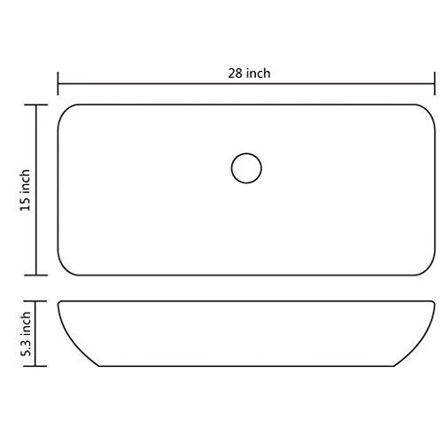 Daonanba Durable Stylish Luxury Premium Ceramic Basin Rectangular Sink White 28'' x 15'' by Daonanba (Image #5)