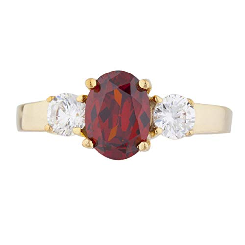 2 Ct CZ Garnet & Zirconia Oval Round Ring 14Kt Yellow Gold Rose Gold Silver ()