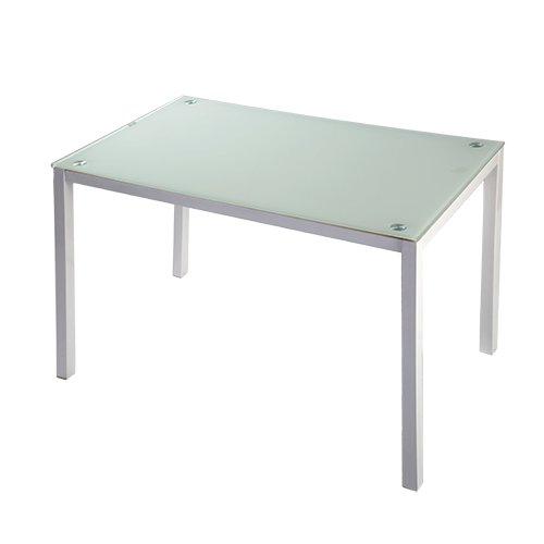 mesa de cocina cristal blanco patas blanco Nuria 110x70: Amazon.es ...