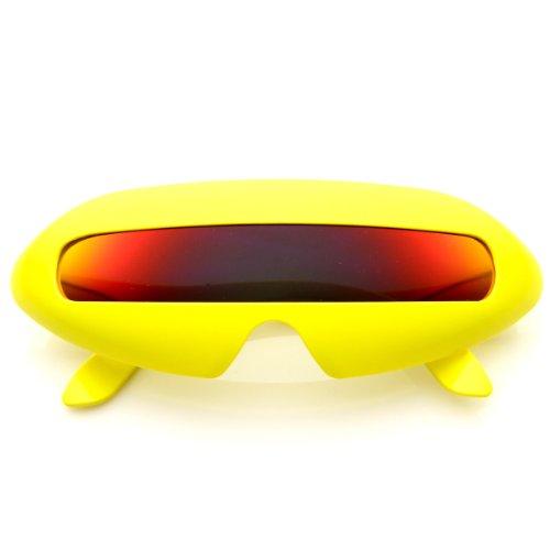 zeroUV - Futuristic Shield Single Lens Oval Party Novelty Cyclops Costume Wrap Sunglasses - Eyewear Cyclops