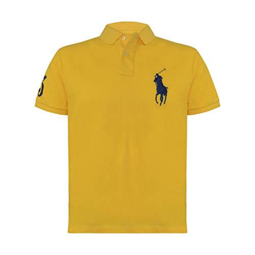 (Polo Ralph Lauren Mens Big Pony Custom Slim Fit Mesh Polo Shirt (Yellow/Navy Pony, Large))
