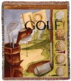 Vintage Golf Mid-Size Deluxe Tapestry Throw Blanket USA Made (Golf Throw)