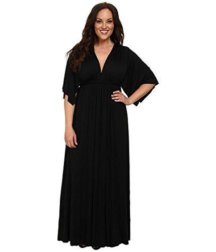 (Rachel Pally Women's Plus Size Long Caftan White Label Black 2X (US 18W-20W))