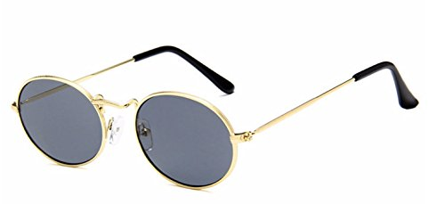 My Shades - Vintage Classic Metal Oval Fashion Sunglasses (Gold, Smoke) (Men Oval Sunglasses For)
