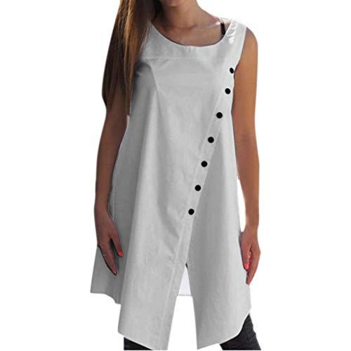 (TANLANG☀New Blouse Shirts Irregular Hem Tank Fashion Sleeveless Round Neck Button Casual Loose Asymmetric Tops for Women White )