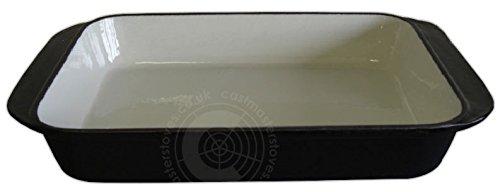 Negro hierro fundido esmaltado sartén para horno prueba plato para hornear estaño esmaltado utensilios de cocina - color negro - 32 x 22 x 5,5 cm: ...