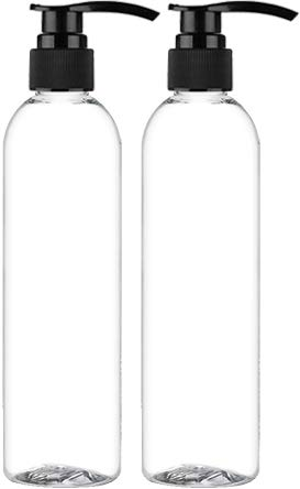 Empty Lotion Pump Bottles, BPA-Free Refillable Plastic 8 Oz Crystal Clear PET Containers, Great for - Soap, Shampoo, Lotions, Liquid Body Soap, Creams and Massage Oil's, 2 ()