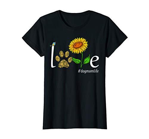 LOVE Sunflower Dog Paw Dog Mom Life Tshirt Dog Lover -