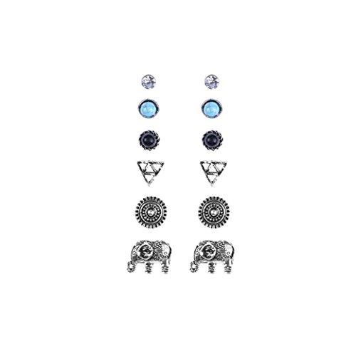 d Multiple 6 Pair Stud Earring Elephant Flower Crystal Woman Jewellery (Elephant Ears Flower)