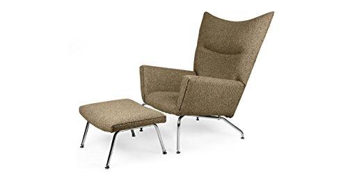 Kardiel Hans J Wegner Style Wing Chair & Ottoman, Oatmeal Houndstooth Twill (Chair Wing Wegner Style)