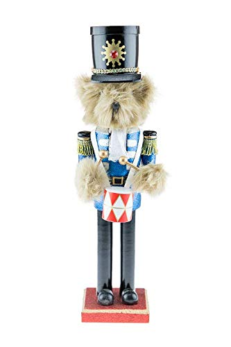 Clever Creations Teddy Bear Drummer Nutcracker | Features Fuzzy Teddy Bear Dressed Up Playing Drums | Perfect Holiday Decor | Measures 15