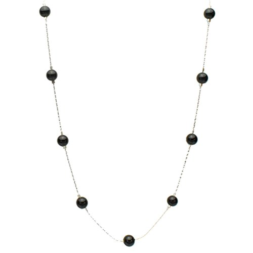Choker Onyx - Black Onyx Stone Beads Station Illusion Sterling Silver Chain Necklace, 16