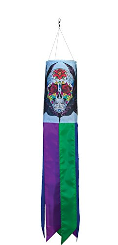 In the Breeze Sugar Skull 30 Inch Windsock - Dia De Los Muertos Printed Windsock - Day of the Dead Hanging Outdoor -