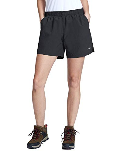 Baleaf Women's Hiking Shorts Quick Dry Nylon Short with Zipper Pockets, UPF 50+ Black Size L