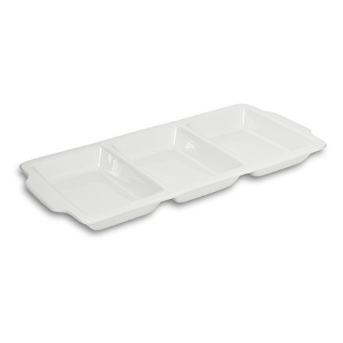 Honey-Can-Do 8145 Porcelain 3-Section Divided Serving Dish, White, 16-Inches x 8-Inches - Divided Porcelain