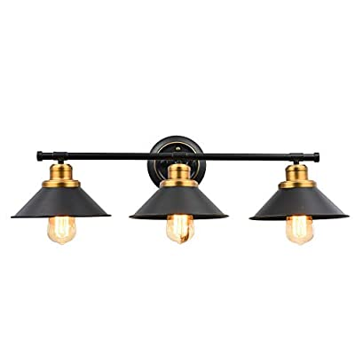 Pauwer Industrial 2 Light Bathroom Vanity Light Edison Wall Sconce Light Fixture Black Metal Shade with Brass and Highlights Hardwired Wall Lamp