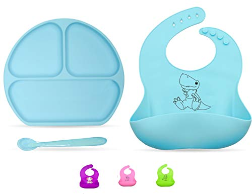 Suction Plate for toddlers, Baby Silicone Bib, Baby Spoon- Baby Feeding complete set. By IBB (blue)
