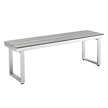All Weather Grey Patio Dining Bench, Aluminum Frame