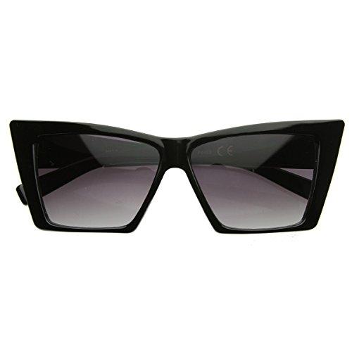 zeroUV - High Pointed Cat Eye Sunglasses Sharp Geometric Square Frame Cateyes (Black)