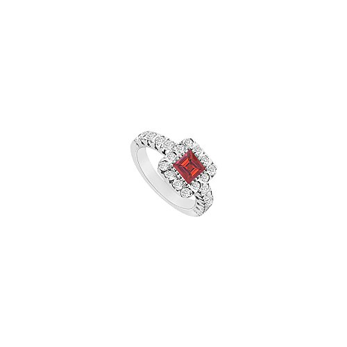 Square Created Ruby and CZ Halo Engagement Ring in 14K White gold 1.25.ct.tgw ()