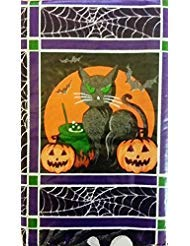 Halloween Jack-O-Lanterns, Black Cats, Ghosts and Owls Vinyl Flannel Back Tablecloth (52