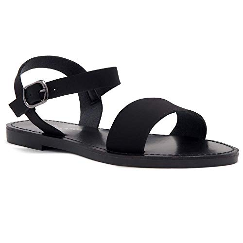 Herstyle Women's Keetton Open Toes One Band Ankle Strap Flat Sandals 1896 BlackNU 8.5