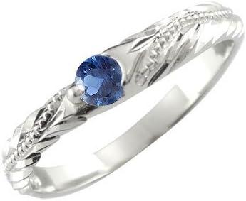 リング レディース ハワイアンリング サファイア ミル打ち シルバーリング 9月 誕生石 シルバー925 指輪 6号 一粒 誕生