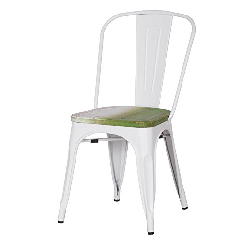 Adeco Metal Stackable Industrial Chic Dining Bistro Cafe Side Chairs, Wooden Seat, White (Set of 2)