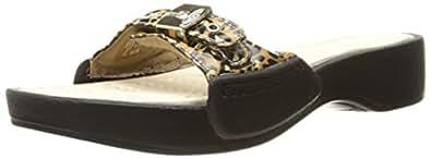 Dr. Scholl's Women's Rock Platform Slide Sandal, Brown/Black Leopard Print, 6 M US