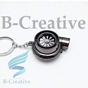 Be-Creative UK Premium Quality LED Turbo Supercharger Honda, Civic Turbine Rechargeable USB Electronic Cigarette Lighter Keyring KeyChain 2017 (Black Nickle): Toys & Games