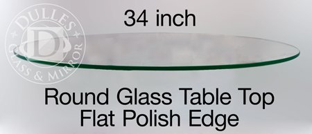 TroySys Round Glass Table Top, Custom Annealed Clear Tempered, 3/8