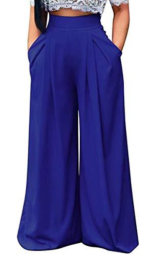 - Women's Casual Flare Pants High Waist Wide Leg Flowy Long Palazzo Pants Lounge Zipper