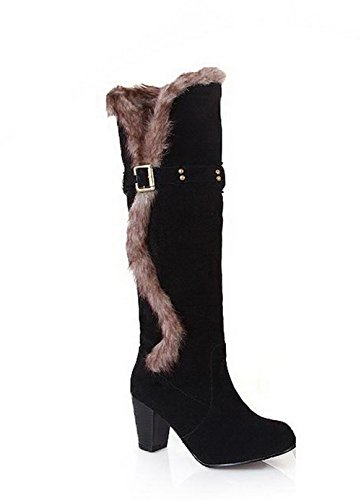 Round Top WeiPoot Boots Closed Black Heels High High Women's Toe PU 6UUnqt7F8
