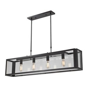 Elk 63023-4 47 by 51-Inch Parameters 4-Light Clear Pendant with Glass Shade, Bronze Finish