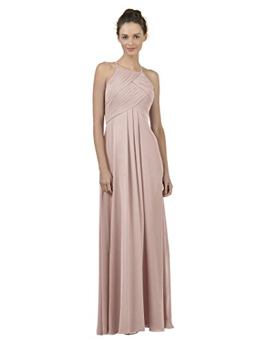Alicepub Long Chiffon Bridesmaid Dress Maxi Evening Gown A Line Plus Party Dress, Silver Pink, US10 ()