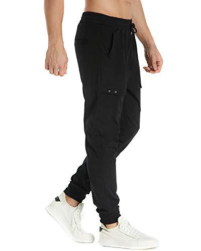 Pantalons Noir Sport Homme Pants Fit Jogging Slim De 2 Casual Bas Sweat Modchok Survêtement fq65Z7nw5